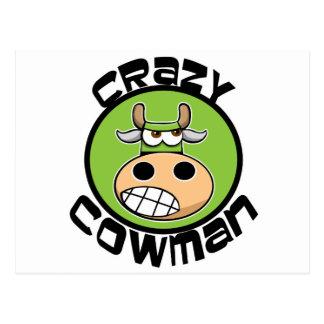 CRAZY COWMAN POSTCARD
