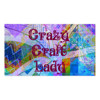 Crazy Craft Lady Blue Purple Butterfly Chevron Col Business Card Templates