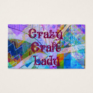 Crazy Craft Lady Blue Purple Butterfly Chevron Col Business Card