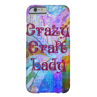 Crazy Craft Lady Blue Purple Butterfly Chevron Col Barely There iPhone 6 Case