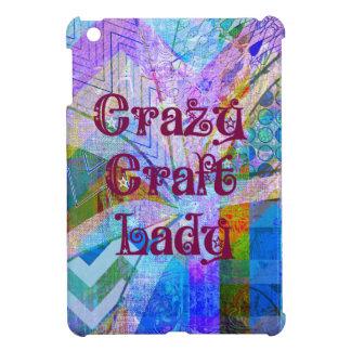 Crazy Craft Lady Blue Purple Butterfly Chevron Col iPad Mini Covers