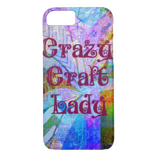 Crazy Craft Lady Blue Purple Butterfly Chevron Col iPhone 7 Case