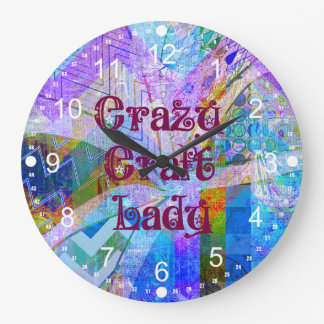 Crazy Craft Lady Blue Purple Butterfly Chevron Col Large Clock