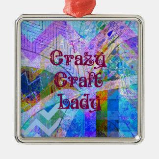Crazy Craft Lady Blue Purple Butterfly Chevron Col Ornament