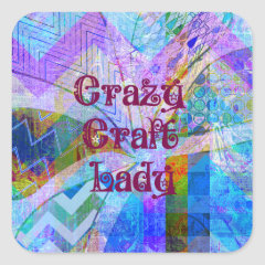 Crazy Craft Lady Blue Purple Butterfly Chevron Col Square Stickers