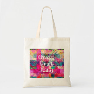 Crazy Craft Lady Colorful Pattern Vibrant Crafting Tote Bag