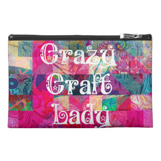 Crazy Craft Lady Colorful Pattern Vibrant Crafting Travel Accessory Bags