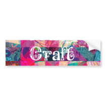 Crazy Craft Lady Colorful Pattern Vibrant Crafting Bumper Sticker