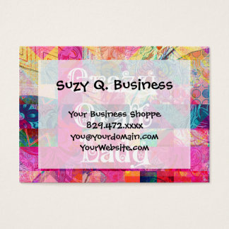 Crazy Craft Lady Colorful Pattern Vibrant Crafting Business Card
