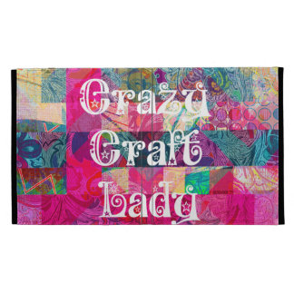 Crazy Craft Lady Colorful Pattern Vibrant Crafting iPad Cases