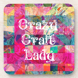 Crazy Craft Lady Colorful Pattern Vibrant Crafting Coasters