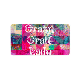 Crazy Craft Lady Colorful Pattern Vibrant Crafting Custom Address Labels