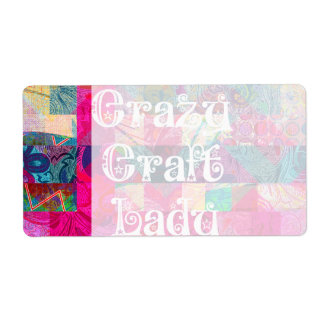 Crazy Craft Lady Colorful Pattern Vibrant Crafting Custom Shipping Labels