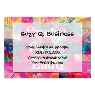 Crazy Craft Lady Colorful Pattern Vibrant Crafting Large Business Card