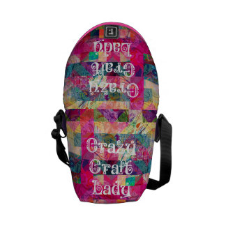 Crazy Craft Lady Colorful Pattern Vibrant Crafting Messenger Bag