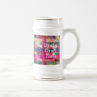 Crazy Craft Lady Colorful Pattern Vibrant Crafting Coffee Mugs