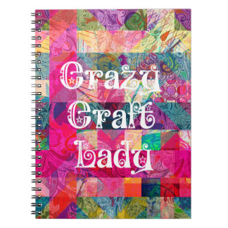 Crazy Craft Lady Colorful Pattern Vibrant Crafting Note Books