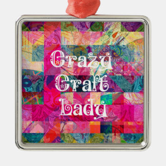 Crazy Craft Lady Colorful Pattern Vibrant Crafting Christmas Ornament