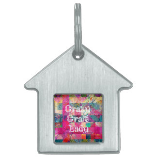 Crazy Craft Lady Colorful Pattern Vibrant Crafting Pet ID Tags