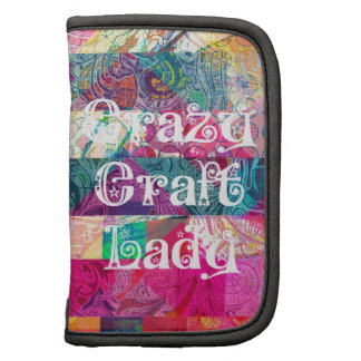 Crazy Craft Lady Colorful Pattern Vibrant Crafting Folio Planner