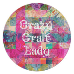 Crazy Craft Lady Colorful Pattern Vibrant Crafting Party Plates