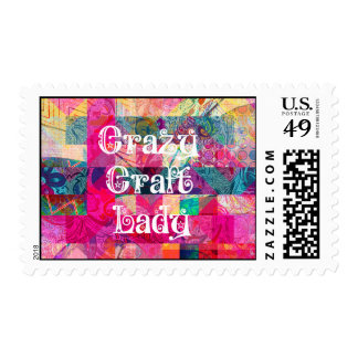 Crazy Craft Lady Colorful Pattern Vibrant Crafting Stamp