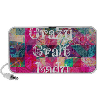 Crazy Craft Lady Colorful Pattern Vibrant Crafting Mp3 Speakers