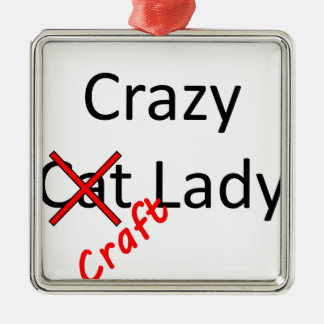 crazy craft lady .png metal ornament