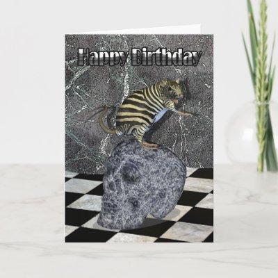Crazy Creature Birthday Card zebrat on skull from Zazzl