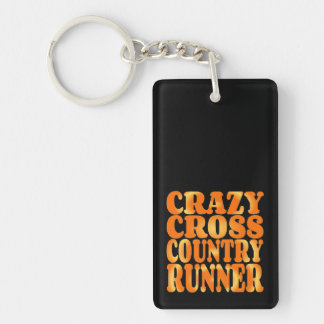 Crazy Cross Country Runner Double-Sided Rectangular Acrylic Keychain