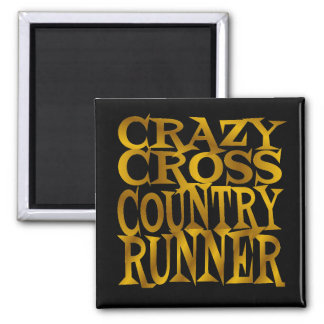 Crazy Cross Country Runner in Gold 2 Inch Square Magnet