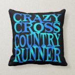 Crazy Cross Country Runner Throw Pillows