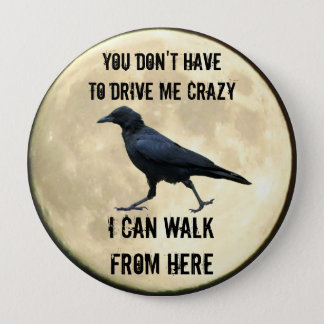 Crazy Crow and Full Moon Meme Button
