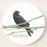 """Crazy Crow Lady Coaster<br><div class=""""desc"""">A crow sitting on a branch with the words &quot;Crazy Crow Lady&quot; underneath.</div>"""