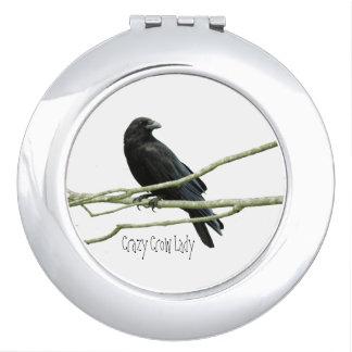 Crazy Crow Lady Compact Mirror