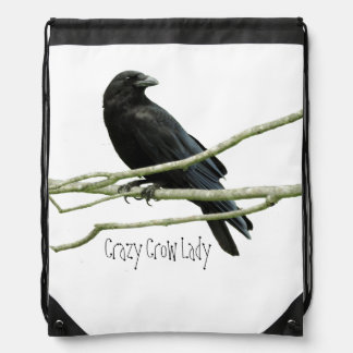 Crazy Crow Lady Drawstring Backpack