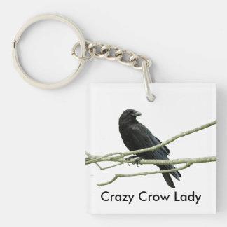 Crazy Crow Lady Keychain
