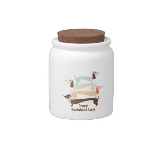 Crazy Dachshund Lady Cookie/Treat Jar Candy Dish