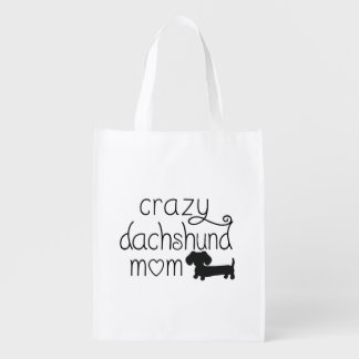 Crazy Dachshund Mom Wiener Dog Tote bag Reusable Grocery Bag