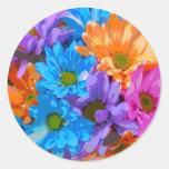 Crazy Daisies (2) Round Stickers