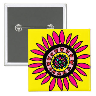 Crazy Daisy Button Hot Pink on Bright Yellow