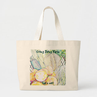 Crazy Daisy 'Let's Eat!' Large Tote Bag