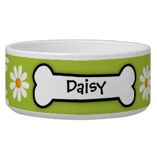 Crazy Daisy Personalized Dog  Bowl - Green