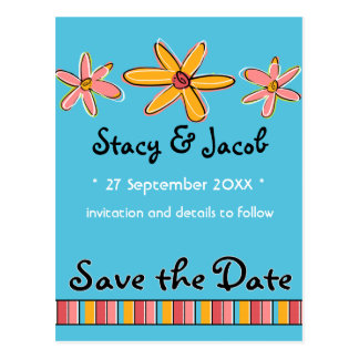 """Crazy Daisy """"Save the Date"""" Postcard"""