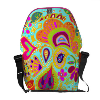 Crazy Daisy Turquoise/orange/green/pink msgr BAG Commuter Bag