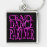 Crazy Dance Partner in Fuschia Silver-Colored Square Keychain