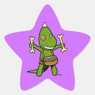 Crazy Dino Star Sticker