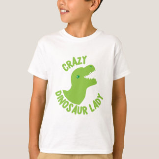 Crazy Dinosaur Lady (in a circle) T-Shirt