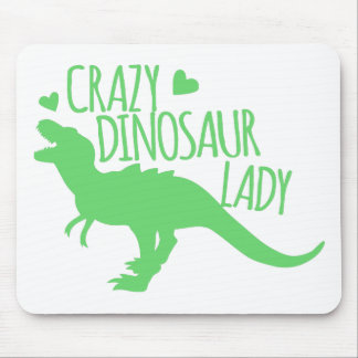 crazy dinosaur lady tyrannosaur in green mouse pad