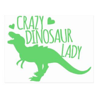crazy dinosaur lady tyrannosaur in green postcard